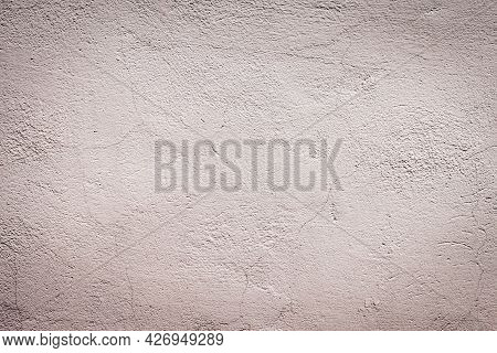 Soft Focus Texture And Pattern Of Old Gray Concrete Wall With Scratches And Cracks. Background For D