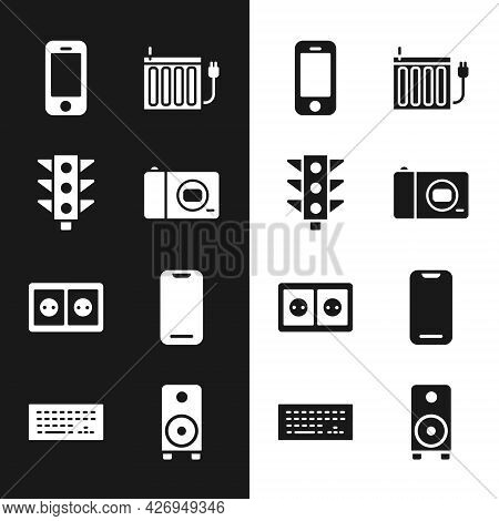 Set Photo Camera, Traffic Light, Smartphone, Heating Radiator, Electrical Outlet, Stereo Speaker And