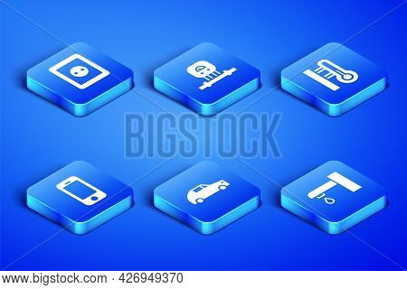 Set Water Tap, Electrical Outlet, Car, Smartphone, Sensor And Meteorology Thermometer Icon. Vector