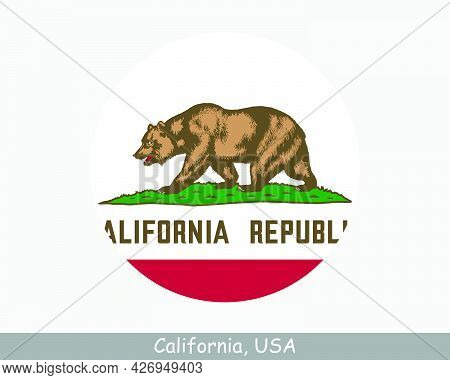California Round Circle Flag. Ca Usa State Circular Button Banner Icon. California United States Of