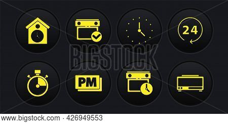 Set Stopwatch, Clock 24 Hours, Pm, Calendar And Clock, With Check Mark, Digital Alarm And Retro Wall