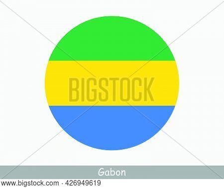 Gabon Round Circle Flag. Gabonese Circular Button Banner Icon. Gabonaise Flag Eps Vector