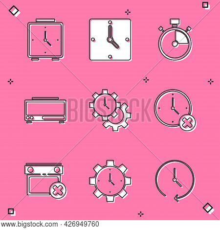 Set Alarm Clock, Clock, Stopwatch, Digital Alarm, Time Management, Delete, Calendar Date And Icon. V