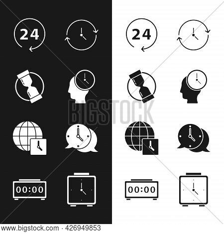 Set Time Management, Old Hourglass, Clock 24 Hours, World Time, Speech Bubble, Alarm Clock And Digit