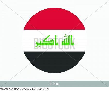 Iraq Round Circle Flag. Iraqi Circular Button Banner Icon. Eps Vector