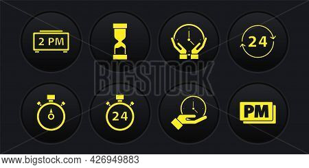 Set Stopwatch, Clock 24 Hours, Old Hourglass, Pm And Digital Alarm Clock Icon. Vector
