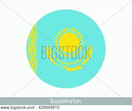 Kazakhstan Round Circle Flag. Kazakhstani Circular Button Banner Icon. Eps Vector