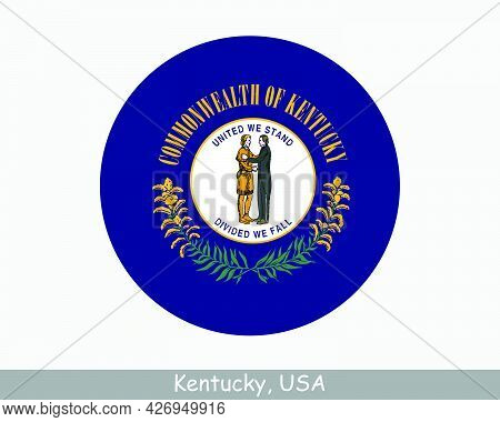 Kentucky Round Circle Flag. Ky Usa State Circular Button Banner Icon. Kentucky United States Of Amer