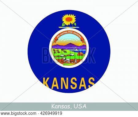 Kansas Round Circle Flag. Ka Usa State Circular Button Banner Icon. Kansas United States Of America
