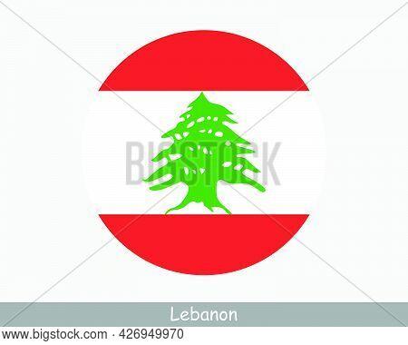 Lebanon Round Circle Flag. Lebanese Circular Button Banner Icon. Eps Vector
