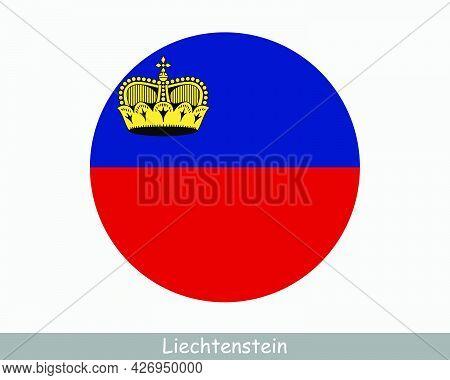 Liechtenstein Round Circle Flag. Liechtensteiner Circular Button Banner Icon. Eps Vector