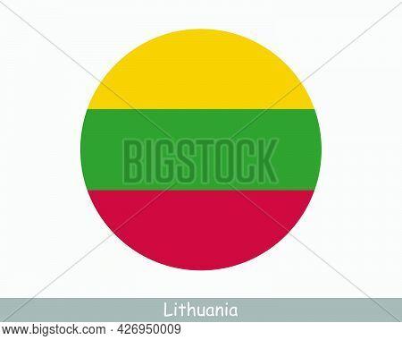 Lithuania Round Circle Flag. Lithuanian Circular Button Banner Icon. Eps Vector