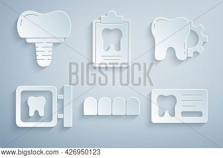 Set Dentures Model, Tooth Treatment Procedure, Dental Clinic Location, Card, And Implant Icon. Vecto