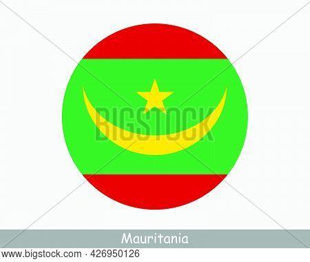 Mauritania Round Circle Flag. Mauritanian Circular Button Banner Icon. Eps Vector