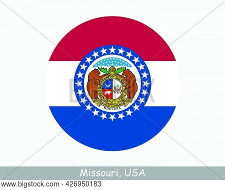 Missouri Round Circle Flag. Mo Usa State Circular Button Banner Icon. Missouri United States Of Amer