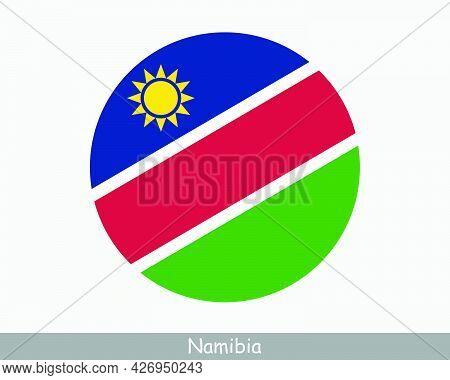 Namibia Round Circle Flag. Namibian Circular Button Banner Icon. Eps Vector