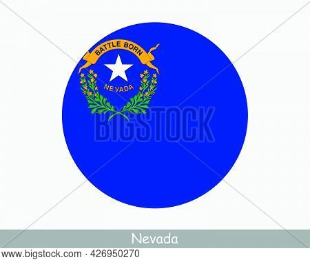 Nevada Round Circle Flag. Nv Usa State Circular Button Banner Icon. Nevada United States Of America