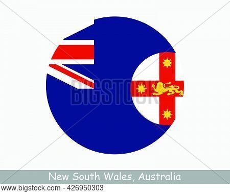 New South Wales Australia Round Circle Flag. Nsw Australian State Circular Button Banner Icon. Eps V