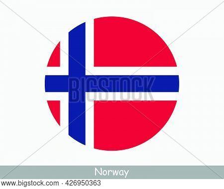 Norway Round Circle Flag. Norwegian Circular Button Banner Icon. Eps Vector