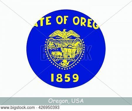 Oregon Round Circle Flag. Or Usa State Circular Button Banner Icon. Oregon United States Of America