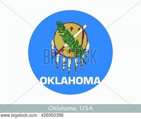 Oklahoma Round Circle Flag. Ok Usa State Circular Button Banner Icon. Oklahoma United States Of Amer