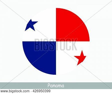 Panama Round Circle Flag. Panamanian Circular Button Banner Icon. Eps Vector