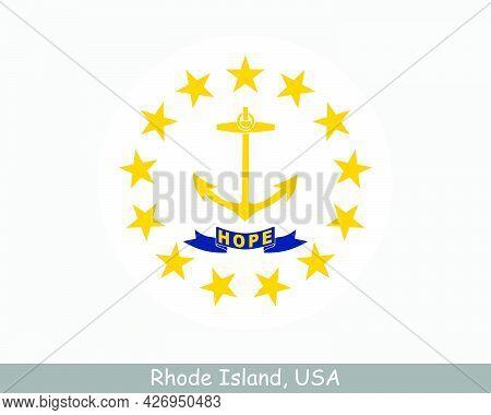 Rhode Island Round Circle Flag. Ri Usa State Circular Button Banner Icon. Rhode Island United States