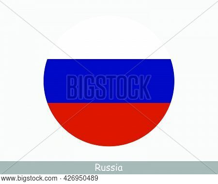 Russia Round Circle Flag. Russian Federation Circular Button Banner Icon. Eps Vector