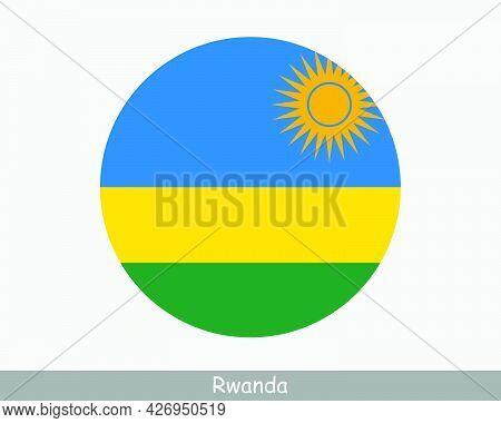 Rwanda Round Circle Flag. Rwandan Circular Button Banner Icon. Rwandese Flag Eps Vector