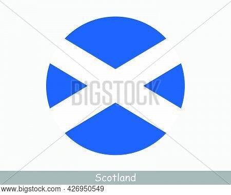 Scotland Round Circle Flag. Scottish Circular Button Banner Icon. St Andrew's Cross, The Saltire Eps
