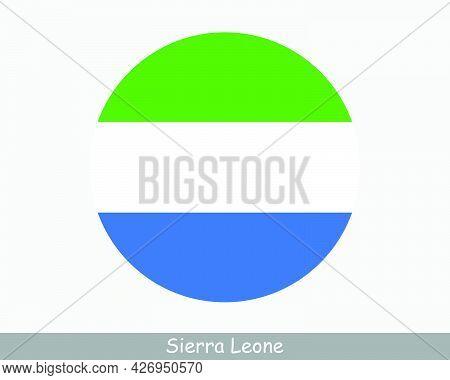 Sierra Leone Round Circle Flag. Sierra Leonean Circular Button Banner Icon. Eps Vector