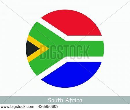 South Africa Round Circle Flag. South African Circular Button Banner Icon. Eps Vector