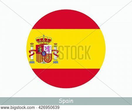 Spain Round Circle Flag. Spanish Circular Button Banner Icon. Spaniard Flag Eps Vector