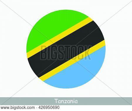Tanzania Round Circle Flag. Tanzanian Circular Button Banner Icon. Eps Vector