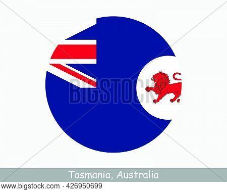 Tasmania Australia Round Circle Flag. Tas Australian State Circular Button Banner Icon. The Apple Is