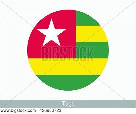 Togo Round Circle Flag. Togolese Circular Button Banner Icon. Eps Vector