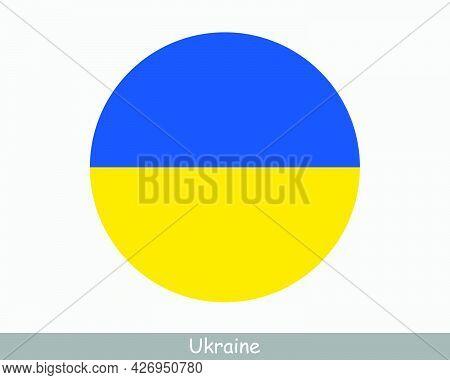 Ukraine Round Circle Flag. Ukrainian Circular Button Banner Icon. Eps Vector