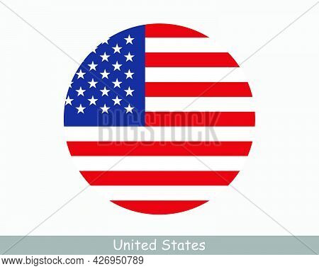 Usa Round Circle Flag. United States Of America Circular Button Banner Icon. American Flag Eps Vecto