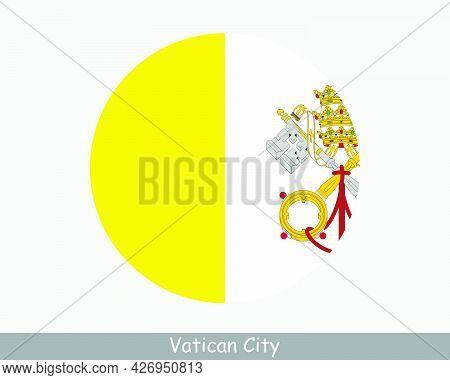 Vatican City Round Circle Flag. Holy See Circular Button Banner Icon. Eps Vector