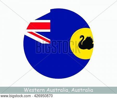 Western Australia Australia Round Circle Flag. Wa Australian State Circular Button Banner Icon. The