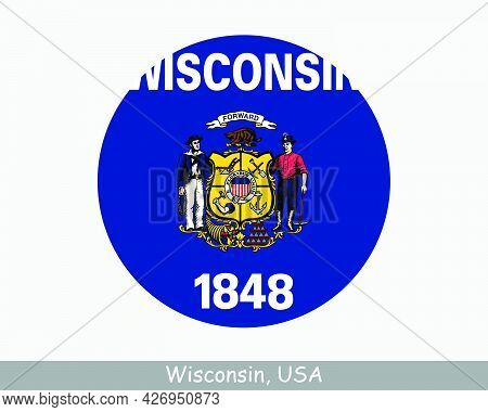 Wisconsin Round Circle Flag. Wi Usa State Circular Button Banner Icon. Wisconsin United States Of Am