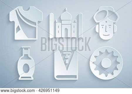 Set India Constitution Day, Indian Man, Vase, Chakra, Taj Mahal And Dress Icon. Vector