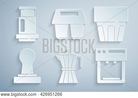 Set Coffee Moca Pot, Glass With Water, Tamper, Machine, Cup To Go And Aeropress Coffee Icon. Vector