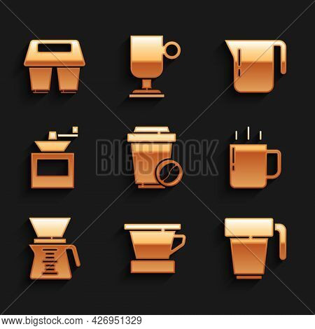 Set Coffee Cup To Go, V60 Coffee Maker, Pour Over, Manual Grinder, Pot And Icon. Vector