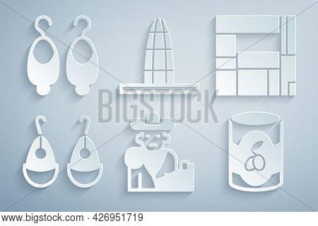 Set Bullfight, Matador, House Edificio Mirador, Earrings, Olives Can, Agbar Tower And Icon. Vector