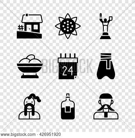 Set Ukrainian House, Sunflower, Mother Motherland Monument, Cossack, Bottle Of Vodka, Varenyky Bowl
