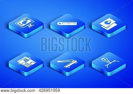 Set Fountain Pen Nib, Computer Monitor Screen, Paper Cutter, Copy Machine, Ruler And Business Card I
