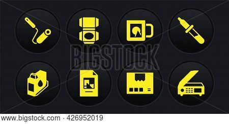 Set Printer Ink Cartridge, Pipette, File Document, Carton Cardboard Box, Coffee Cup, Scanner And Pai