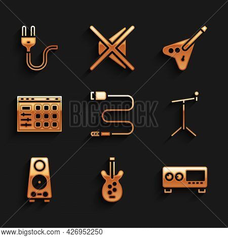 Set Audio Jack, Electric Bass Guitar, Guitar Amplifier, Microphone With Stand, Stereo Speaker, Drum