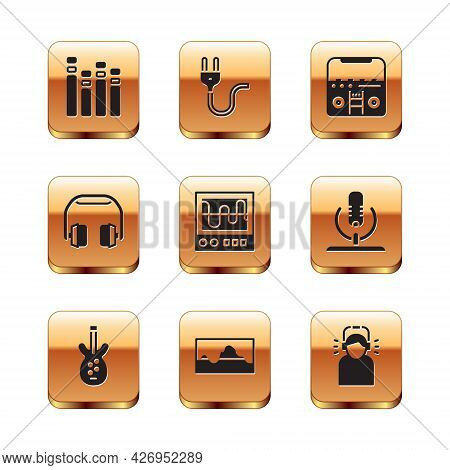 Set Music Equalizer, Electric Bass Guitar, Wave, Oscilloscope, Headphones, Home Stereo With Speakers